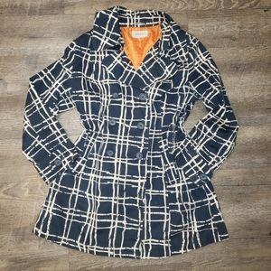 Blue over coat with Orange Lining Size Large